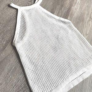 Talula Aritzia White Knit Halter Crop Tank Top Med
